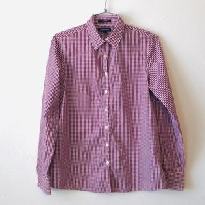 Lands' End checkered maroon and white button down
